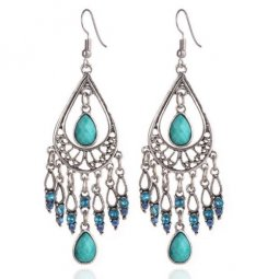 A-QD-Q7131 Turquoise Green Bead Oval Hook Earrings Shop