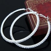 C100522111 Shiny Crystals Silver Elegant Hoop Round Earrings