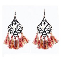 A-HH-HQEF-913MIX1 Colourful Tassels Vintage Style Hook Earrings