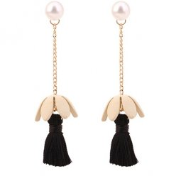 C0150748168 Beige Flower Black Tassel Earstuds Wholesale Shop
