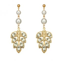 A-YG-6431 White Pearls Beads Gold Leave Shape Korean Earstuds