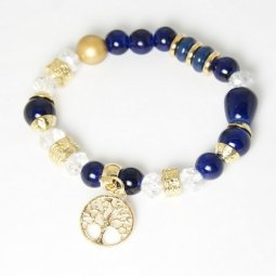 P131389 Blue Mix Crystals Gold Beads Tree Symbol Bracelet