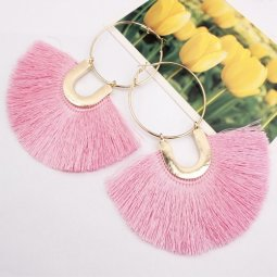 A-SD-XL109633pink Pink Huge Tassels Vogue Gold Hoops Earrings