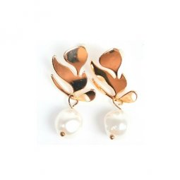 A-SD-ER111445(b) Gold Leave & White Pearl Earstuds Malaysia