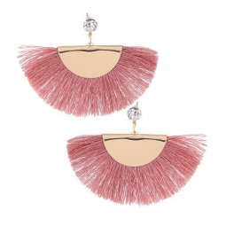 C090526168 Pink Tassels Gold Diamond Stylish Earstuds