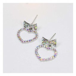 A-QK-0699luv Ribbon Crystal Charm Heart Shape Hollow Earstuds