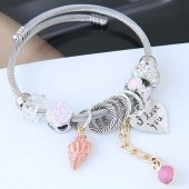 C0150712222 Pink Shell Heart ILOVEYOU Bead Silver Charm Bracelet