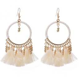 A-QD-8036WH White Round Tassel Hook Earrings Wholesale Shop