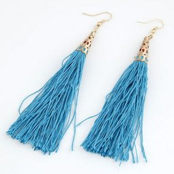 C10112957 SkyBlue Dangling Teardrop Tassel Earrings Wholesale