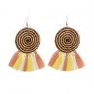 A-HY-E042(wooden)yellow Twirling Circle Mix Tassel Yellow Earrin