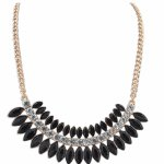 P111183 Black spikes beads korean choker necklace malaysia shop