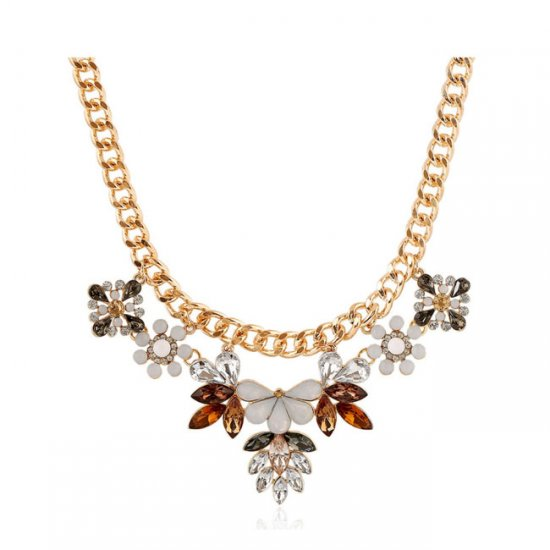 A-h2-108-x143 Classy Flora Sunny Crystal Beads Necklace Fashion - Click Image to Close