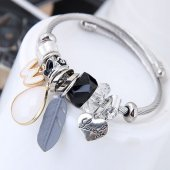 C100707119 Silver Lovely Feather White Stone Adjust Bangle Shop