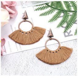A-HH-HQEF1218brown Brown Classic Tassel Triangle & Hoop Earstuds