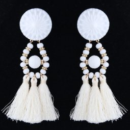 A-DW-5923white White Tassel Bohemian Earstuds Accessories Shop