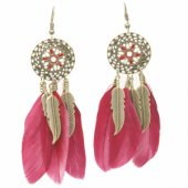 P121637 Vintage leave maroon feather dreamcatcher earrings