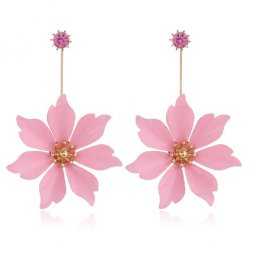 A-DW-21967PINK PINK SIX PETALS LOVELY DESIGN EARSTUDS MALAYSIA