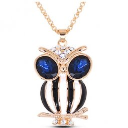 C016060106 Navy Blue Crystal Eye Owl Gold Colour Short Necklace