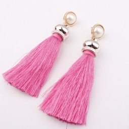 A-SD-EH017pink Pink Dangling Tassel Earstuds with White Bead