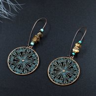 A-HH-HQEF-014 Blue Vintage Stones Circle Flower Hook Earrings