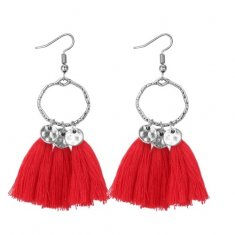 P133187 Red Tassel Antique Silver Hook Earrings Malaysia Shop