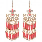 A-QD-Q7632 Pink Moon Dangling Beads Bohemian Hook Earrings