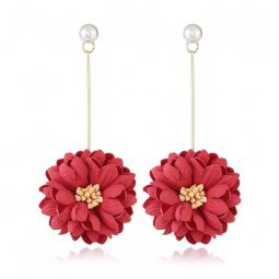 A-MY-0305 Siren Red Summer Korean Flower Gold Holder Earrings