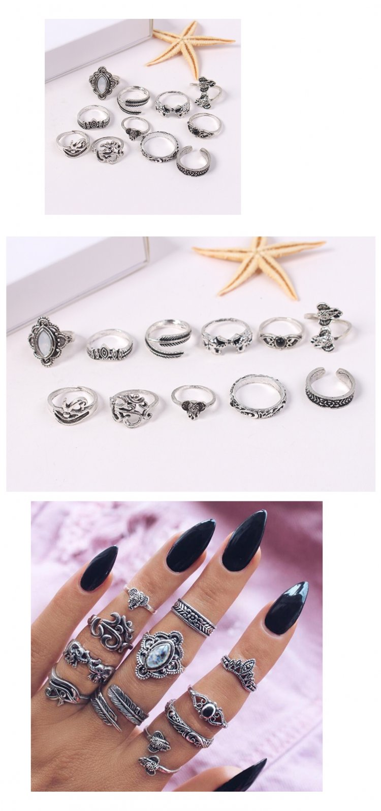 P132721 Silver Various Shapes Diameter:1.5-1.7CM 11Pieces Rings