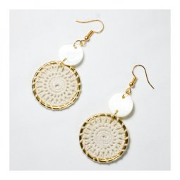 A-UK-107 White Threading Circle Style Hook Earrings Fashion Shop