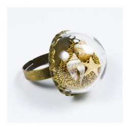 B-W-F06 Globe Ring With Fake Sand & Seashells