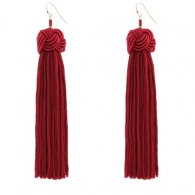 A-QD-E0371R Red Twisted Dangling Tassel Hook Earrings