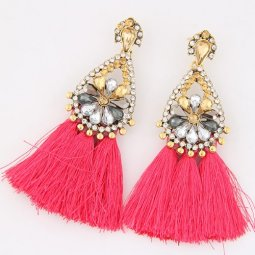 C100519101 Pink Tassel Oval Shiny Crystals Bead Earstuds