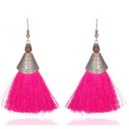 A-KJ-E020266 Vintage Pink Tassel Hook Earrings Wholesale Shop