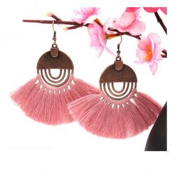A-HH-HQEF-249 dusty pink circle tassel earring