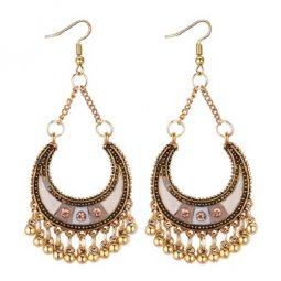 P131313 White Brown with Pink Diamonds Crescent Hook Earrings