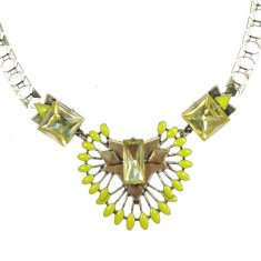 A-QDMSY-15 Green Yellow Statement Necklaces Malaysia