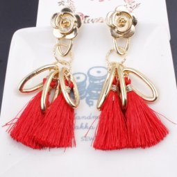 A-SD-SL286red Red Gold Rose Elegant Tassel Earstuds Wholesale