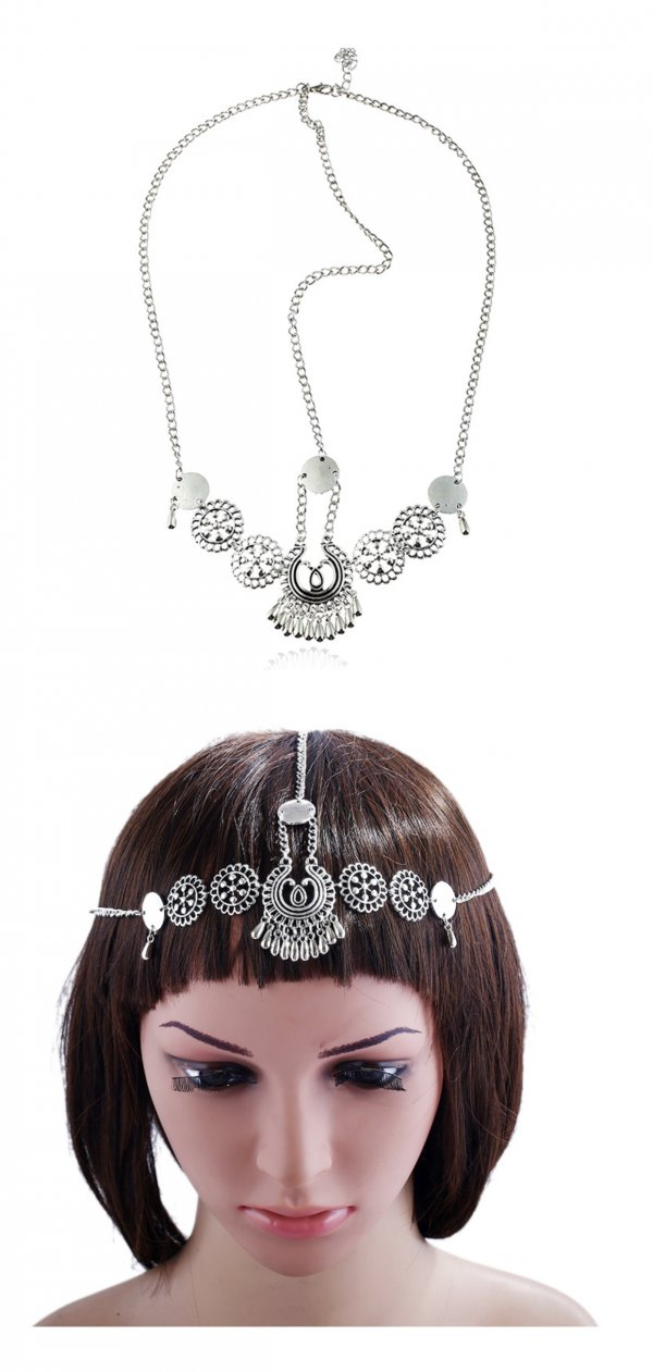 A-H2-107fd020 Antique Silver Bohemian Headchain Hair Accessories