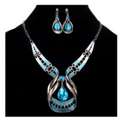 A-CJ-9148blue Dangling Crystal Blue Silver Ombre Necklaces Set