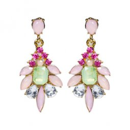 A-UK-102 Pink Green Crystal Beads Korean Elegant Style Earstuds