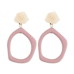 A-FX-E3650pink Pink Marble With Dangling Circle Korean Earstud