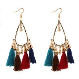 P129070 Colourful Summer Dangling Tassel Earrings