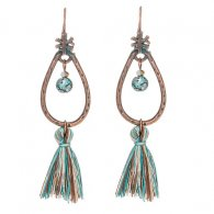A-KJ-E020241 Oval Turquoise Oval Bead Tassel Bohemian Earrings