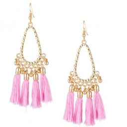 A-KJ-E020401 Pink Oval Dinner Korean Inspired Tassel Earrings