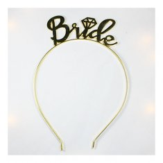 A-BB-200 Gold Bride Curvy Writing Wedding Headband