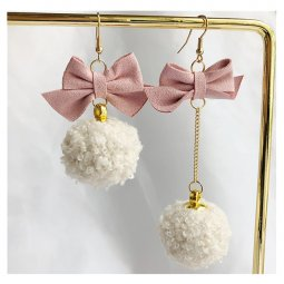A-TT-1110 Fluff Ball With Pink Ribbons Korean Style Earrings