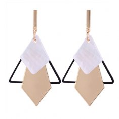 P131154 Gold Geometry White Shell Korean Inspired Earstuds