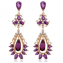 A-SQ-ES0061 Purple Gold Bohemian Diamond Oval Statement Earstuds
