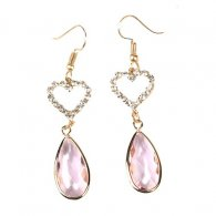 A-LG-ER0529pink Pink Stone Diamonds Heart Korean Hook Earrings