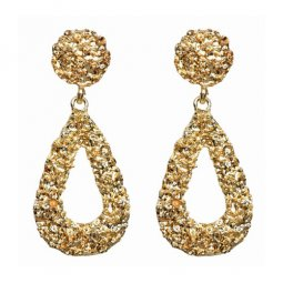 A-FX-6019GD Gold Textured Waterdrop Shapes Trendy Earstuds